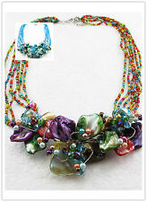 New Fashion Luxury crystal Flower Bib Statement Neon Chunky Necklace collar