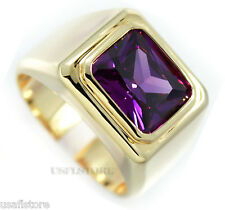 Mens Solitaire Amethyst Color 18kt Gold Plated Stainless Steel Ring