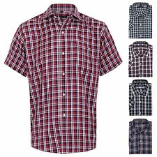 Mens Short Sleeve Lumberjack Checked Tartan Print Buttoned Shirt Top Casual Work