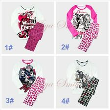 Girls Monster High Skull Sleepwear Kids Pajamas Night Clothes Tops+Pants SZ 6-14