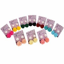 Wholesale Lot of Color Rose Flower and 10mm Faux Pearl Jewelry Stud Earrings