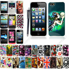 PRINTED HARD SHELL BACK CASE COVER FOR VARIOUS PHONES+SCREEN GUARD + STYLUS