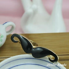 Black Moustache Two-Rings Mustache Jewelry Necklace Charms Double Rings