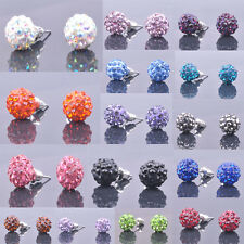 Simple Design Shining Crystal Pave Ball Beads Silver Plated Stud Earrings15Color