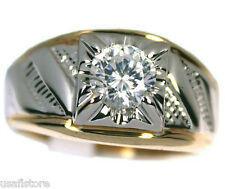 Mens Two Tone with 1 Karat CZ 18kt Gold Plated Ring New