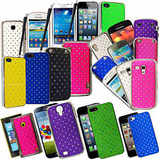 DIAMOND HARD BACK SHELL CHROME SIDED CASE COVER FOR VARIOUS PHONES+GUARD+STYLUS
