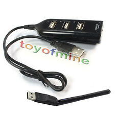 USB Hub 4 Port +150M 802.11 b/g/n Wireless Network Card Antenna USB Wifi Adapter