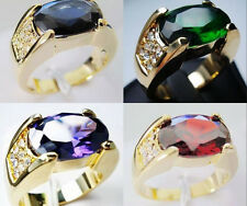 Sz 9-11 Jewelry Mens 10kt Gold Filled Multi-color CZ Stone Band Ring Free Ship