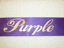 "40"" PURPLE SASHES W/GOLD LETTERS - MANY TITLES-PAGEANT, PROM, HOMECOMING"