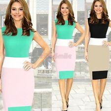 New Color Blocking Wear to Work Women Career Business Midi Bodycon Stretch Dress