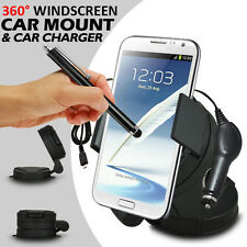 360° WINDSCREEN MINI CAR MOUNT HOLDER+CAR CHARGER+STYLUS FOR VARIOUS MOBILE