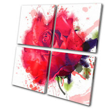 Floral Red Roses Watercolour  MULTI CANVAS WALL ART Picture Print VA
