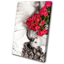floral Roses Woman  SINGLE CANVAS WALL ART Picture Print VA