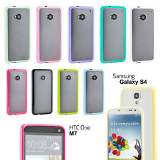 Soft Gel Bumper Matt Hard Clear Back Case Cover for Samsung Galaxy S4 S HTC ONE