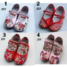Kids Girl Mary Jane Shoes Embroidered Flower Satin Flat Dance Ballet Chinese New