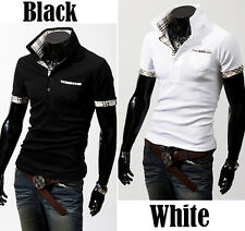 New Summer Casual Men's Fashion Slim Short Sleeve Fit Checked T Shirt Tops J6P8