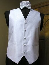 Vest White Paisley Full Back Bow Tie Tuxedo Formal Wedding Western Steampunk