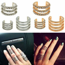 charming Gold/Silver Stack Plain/Crystal Above Knuckle Band Mid Finger Tip Ring
