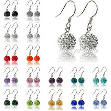 1 Pair Fashion 10mm Crystal Disco Ball Silver Plated Hook Shamballa Earrings