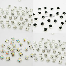 144 x Sew On Diamante Crystal Cut Glass Rhinestones Silver Setting 1 GROSS NEW