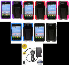 LG Optimus Zone 2 VS415PP / Fuel L34C Phone HYBRID T-STAND Case + HOME CHARGER
