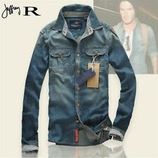S-XL Men Casual Button Down Long Sleeve Washed Jacket Jean Denim Shirt Blouse -S