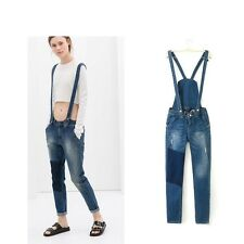 New Womens Washed Overalls Denim Frayed Strap Long Pants Jumpsuits Trousers