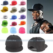 New Mens Unisex Casual Hip-hop Blank Plain Snap Back Adjustable Baseball Cap Hat