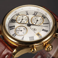 KS Mens Classic Crystal Case Date Day Leather Automatic Mechanical Sport Watch