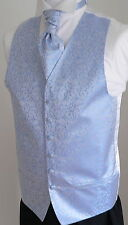 Classic Pale Blue Scroll Men's/Boys' Wedding Waistcoat & Cravat Set