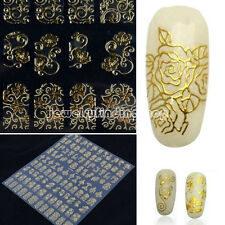 Hot Flower 3D gold Decal Stickers Nail Art Tip DIY Decoration stamping Manicure