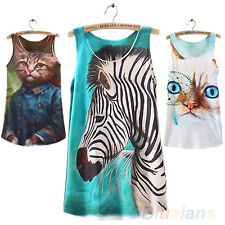 Women's Casual Sleeveless Cat Zebra Graphic Printed T Shirt Tee Blouses Vest