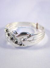 4 Band Silver & Sapphire Turkish Puzzle Ring - Traditional Style 5 Accent Gems