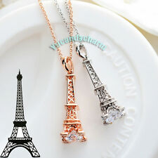 Made in Korea Deluxe Eiffel Tower Necklace Rose White Gold plated w/ big CZ Gem