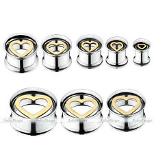 Stainless Steel Heart Love Ear Tunnel Flesh Stretcher Expander Taper Plugs Gauge