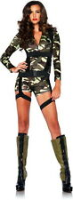 Sexy Commando Camo Army Paratrooper Romper Halloween Costume Outfit Adult Women