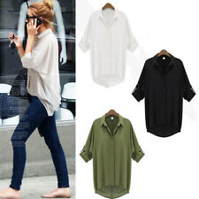 Fashion Women Button Down Chiffon T Shirt Casual Long Sleeve Tops Blouse