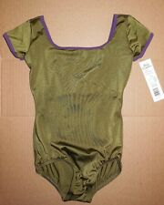 NWT Body Wrappers P620 capsleeve satinfinish leotard dance keyhole back green/pl