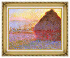 Framed Wall Art Print The Grainstack Haystack Sunset Claude Monet Painting Repro