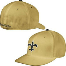 New Orleans Saints NFL Mitchell and Ness Gold Throwback Fitted Flat Bill Hat Cap