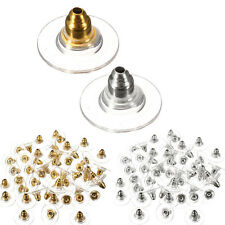 50PCS Silver Golden Ear Post Nuts Pad Earring Backs Stoppers Jewelry Finding