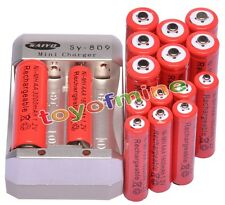 8x AA 3000mAh + 8x AAA 1800mAh 1.2V Ni-MH Red Rechargeable Battery +Charger