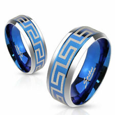 Stainless Steel Blue Greek Key Wedding Band Ring Size 5-13