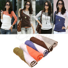 2014 Women Lady Stitching Bottom Shirt Long Sleeved T-shirts Blouse Top 5 Colors