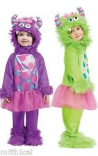 Toddler Girls Monster Terror In a Tutu Tu Tu Green Purple Hood Costume Jumpsuit