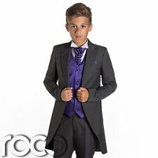 Boys Grey Tail Suit, Purple Waistcoat, Page Boy Suits, Wedding Suits, Boys Suits