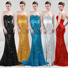 Shiny Vintage Sexy Strapless Long Sequin Evening Dress Formal Party Gowns JS Hot