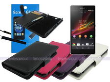 Leather Wallet Case+Screen Protector+Stylus for Sony Xperia Z