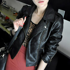 New Women Fashion Biker Motorcycle Faux Leather Zipper Jacket Coat Black Outwear