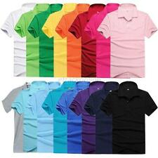 Solid Color Mens Lapel POLO Shirt Short Sleeve Casual Tee T-shirt M L XL XXL 3XL
